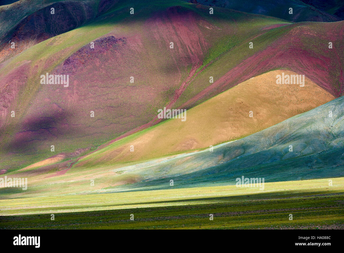 Mongolia, Bayan-Ulgii provincia, Mongolia occidentale, le montagne colorate del degli Altai Immagini Stock