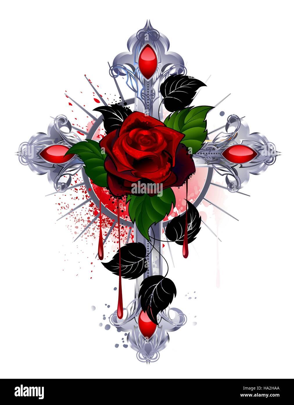 Croce Dargento Con Una Rosa Rossa E Foglie Di Colore Nero Su Uno