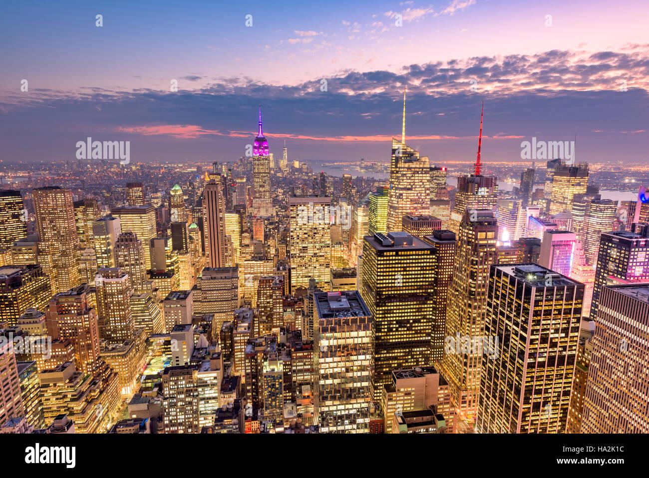 La città di New York skyline antenna vista su Manhattan. Immagini Stock