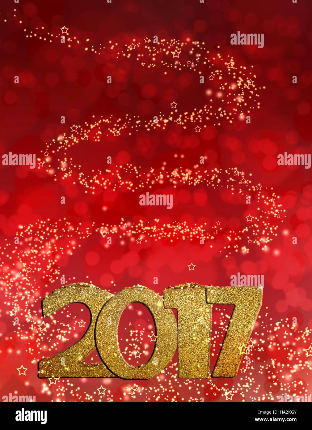 Golden figure 2017 su luci luminose sullo sfondo Immagini Stock