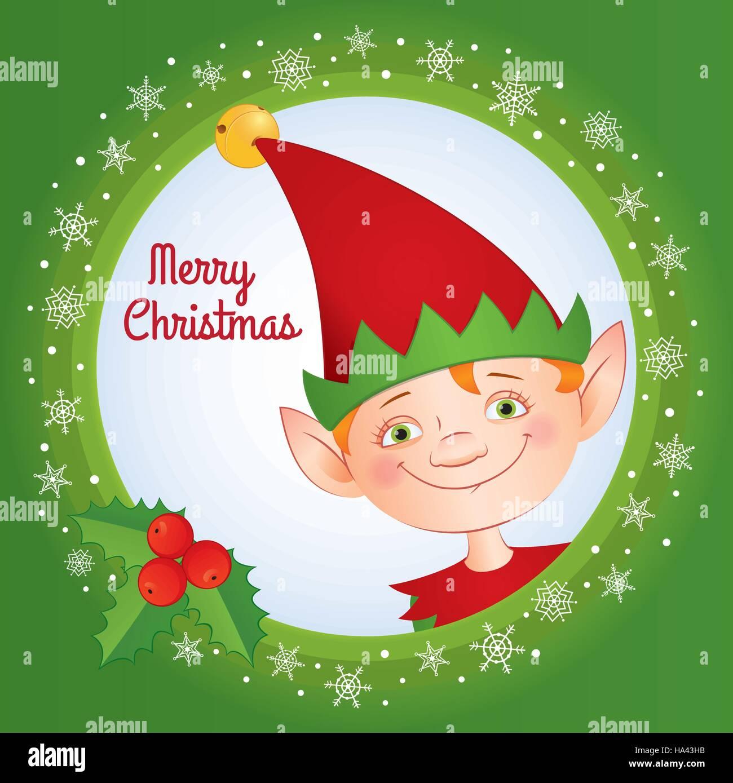 Messaggio Di Buon Natale Simpatico.Vettore Illustrazione Del Fumetto Messaggio Di Saluto Festivo Card