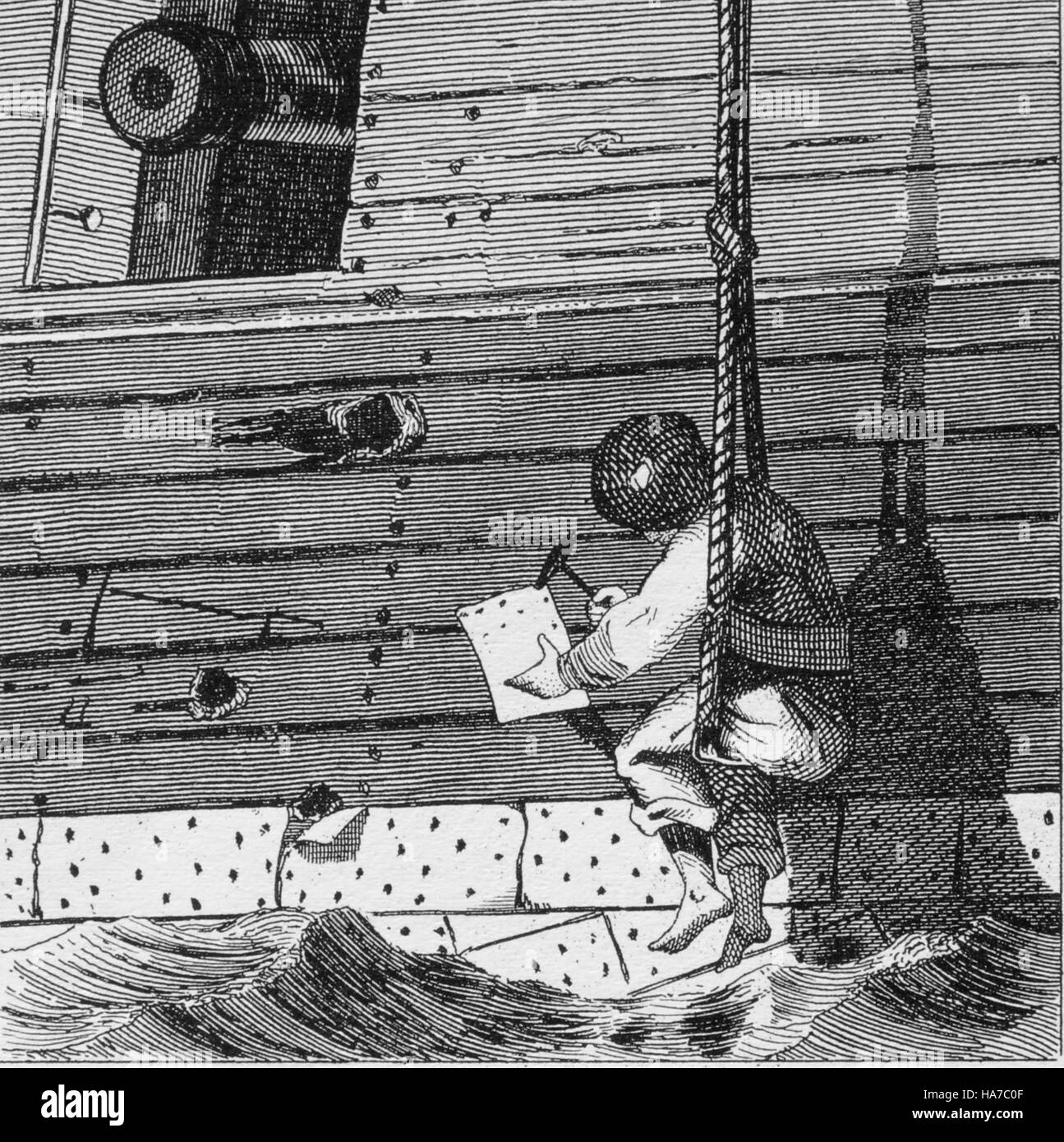 Storia della navigazione. Claulking shot fori. Enciclopedia iconografico della scienza, letteratura e arte, XIX Immagini Stock