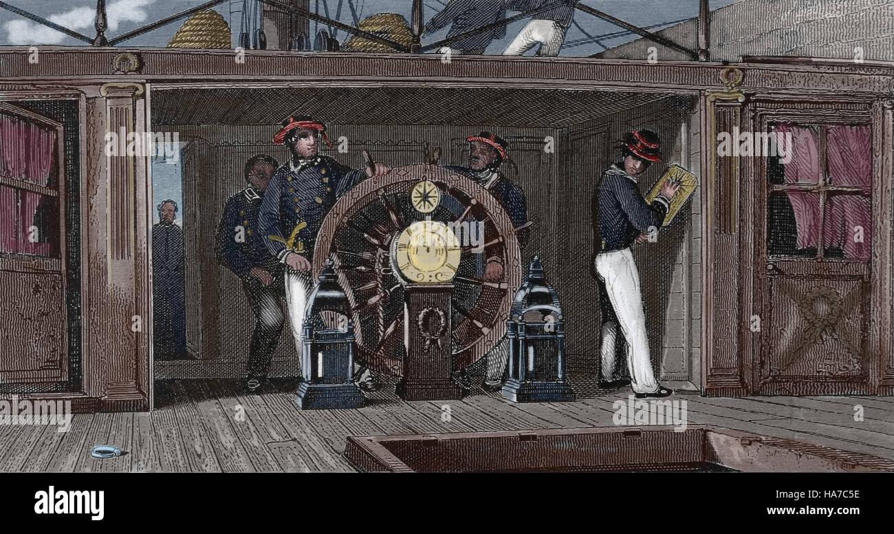 Storia della navigazione. La ruota. Enciclopedia iconografico della scienza, letteratura e arte del XIX secolo. Immagini Stock