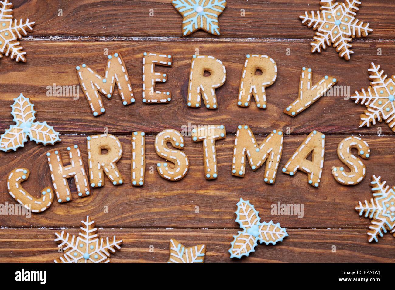 Biscotti Allo Zenzero Di Natale.Scheda Di Natale Segno Di Natale Con Biscotti Allo Zenzero Su Uno
