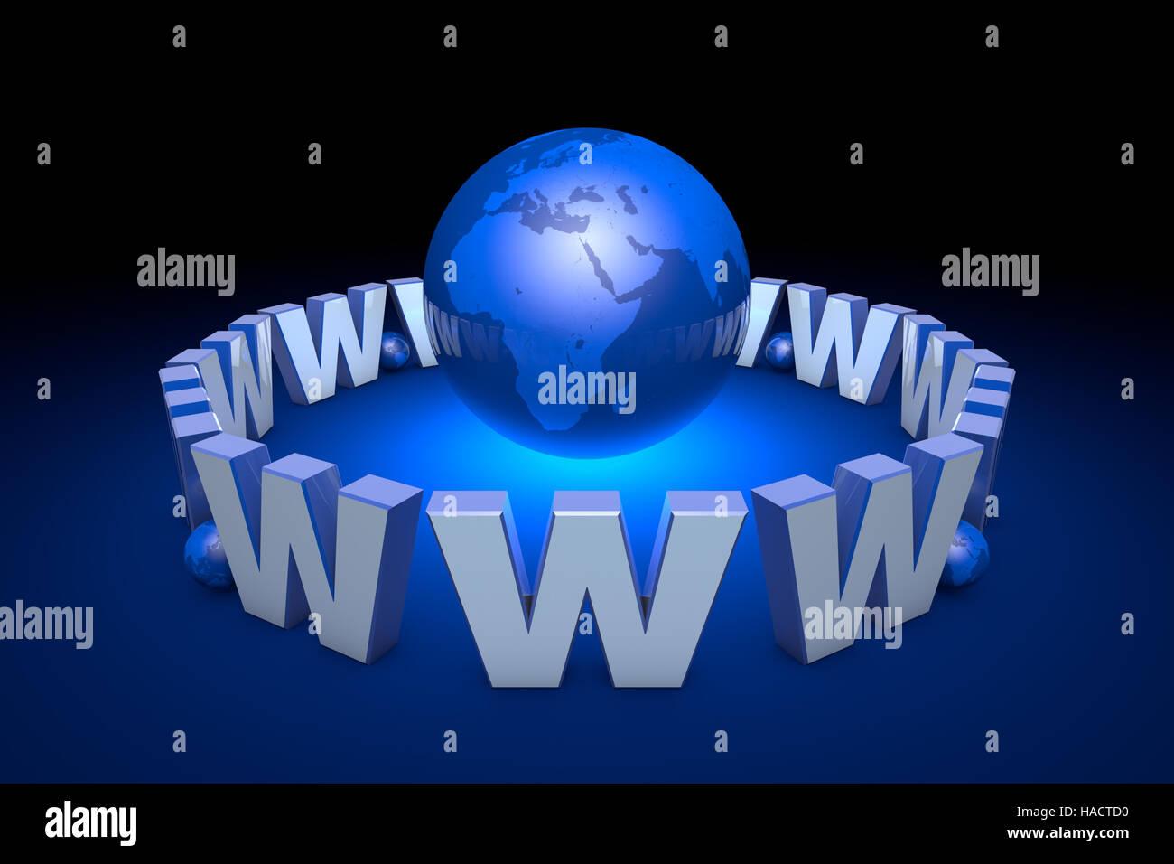 La globalizzazione. La comunicazione internazionale sistema. Le nuove tecnologie dell'informazione. La dipendenza Immagini Stock