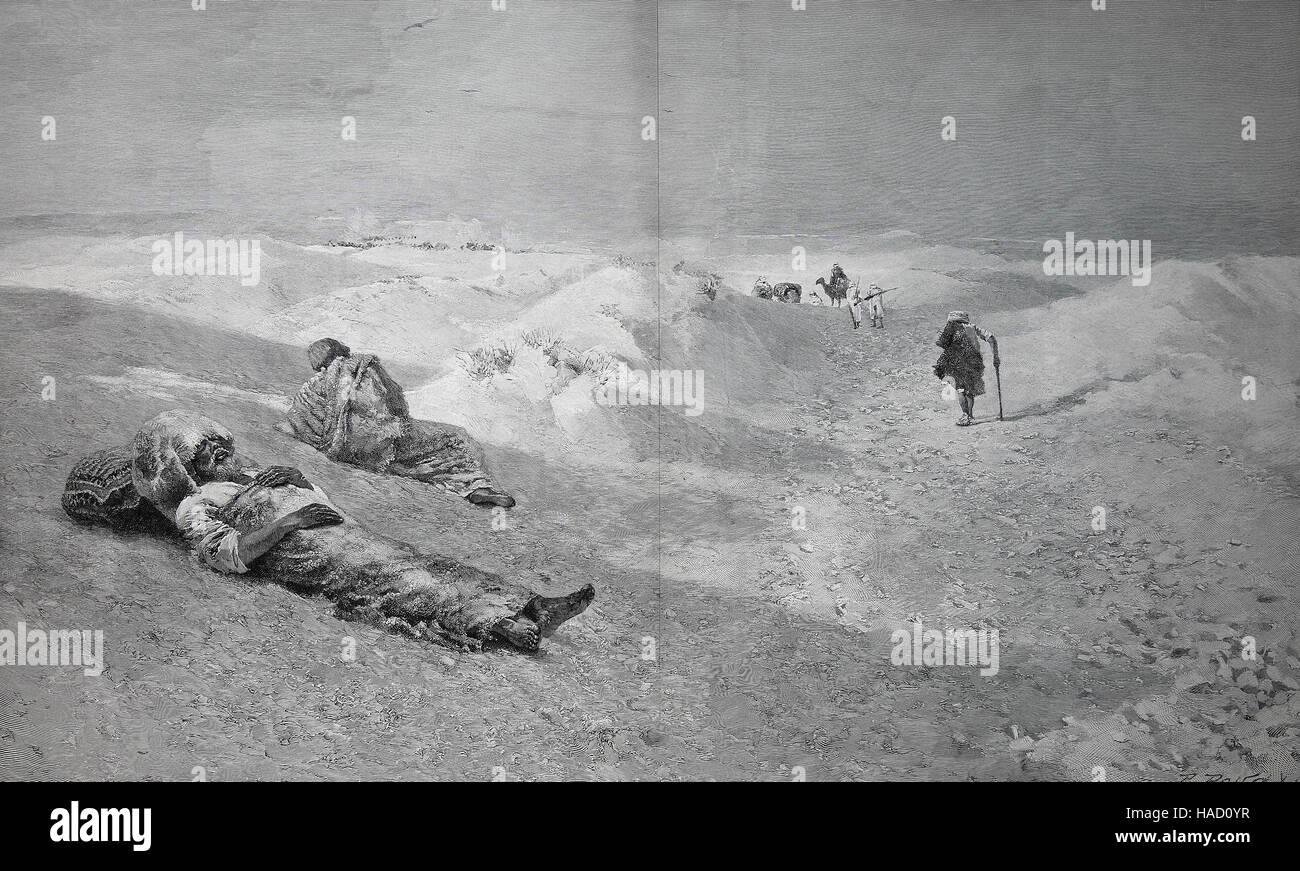 Vittime di Islam, Opfer des Islam, la morte nel deserto arabico, da A. von Meckel, illustrazione pubblicato nel Immagini Stock