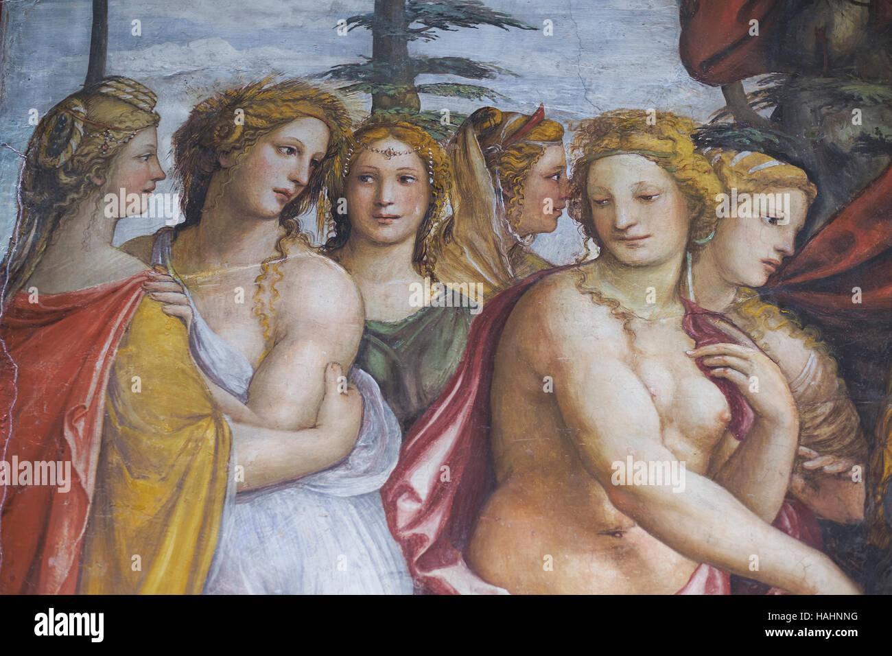 Affresco e dettagli ornamentali di Villa Farnesina. Roma, Italia Immagini Stock