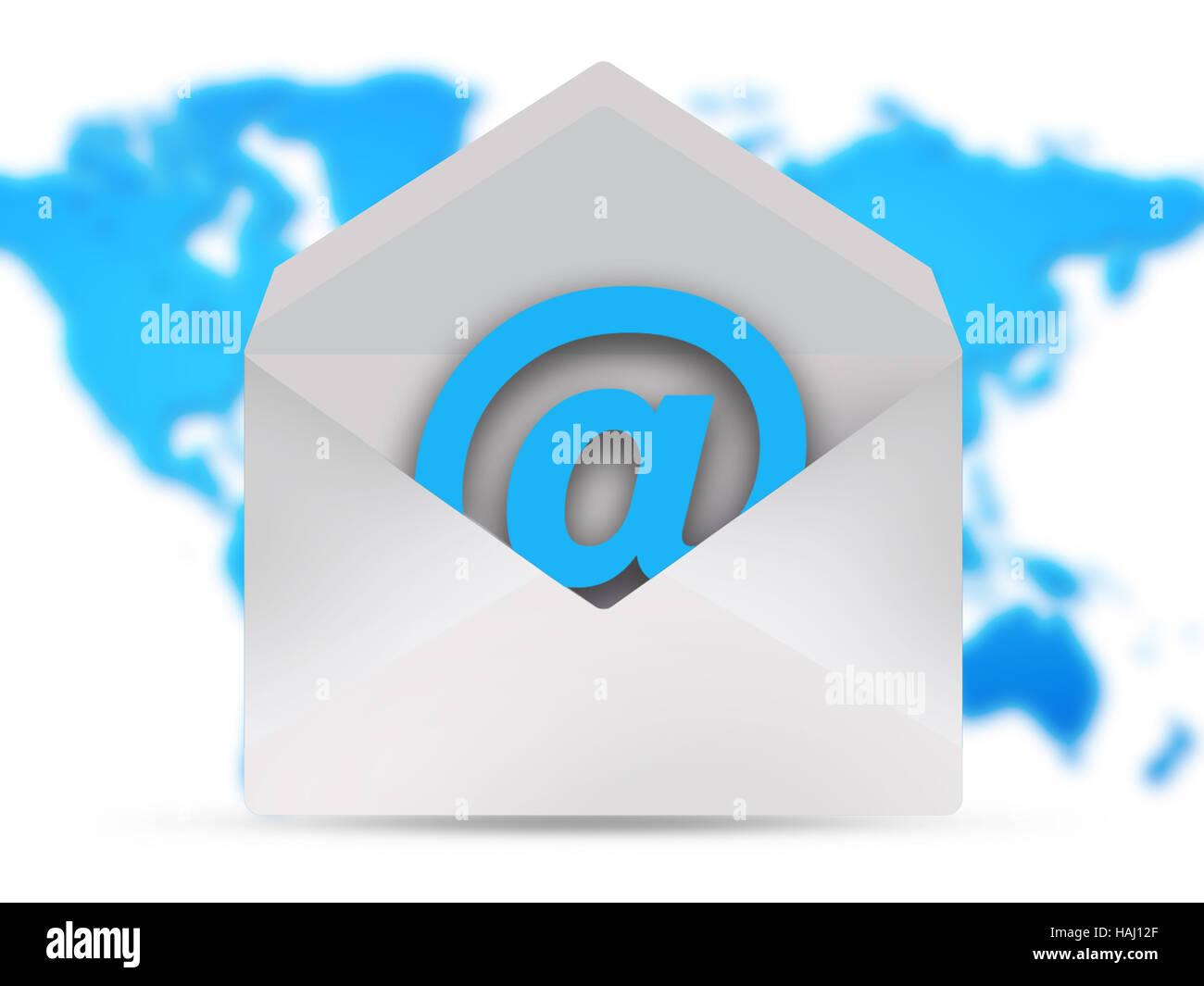 Icona posta elettronica sulla mappa del mondo Immagini Stock