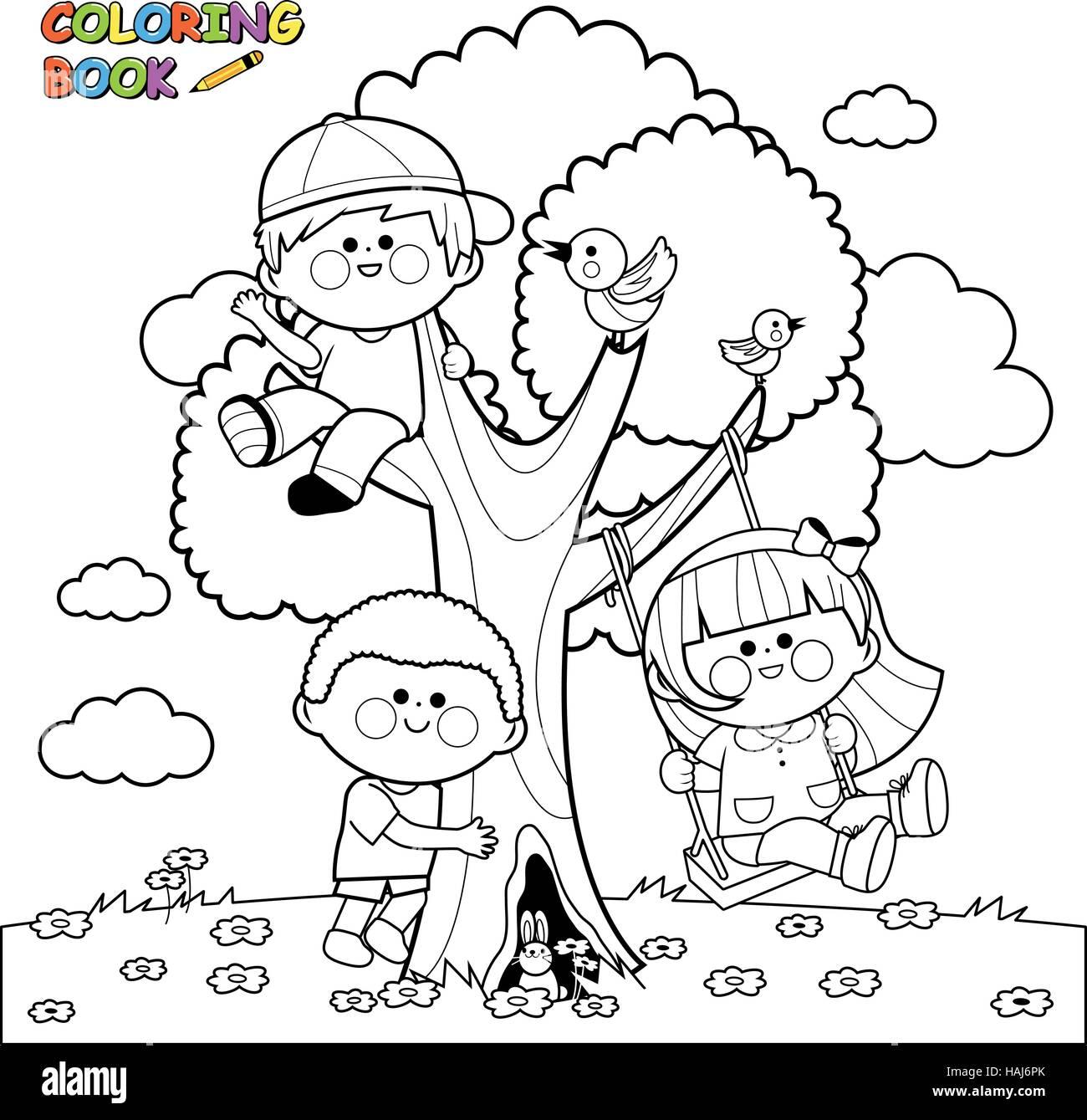 Bambini Che Giocano Su Un Albero Libro Da Colorare Pagina
