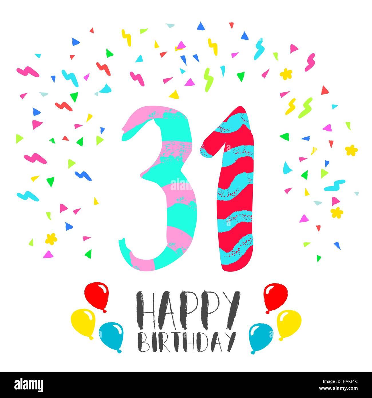 Auguri Di Buon Compleanno 31 Anni.Buon Compleanno Al Numero 31 Biglietto Di Auguri Per Trenta