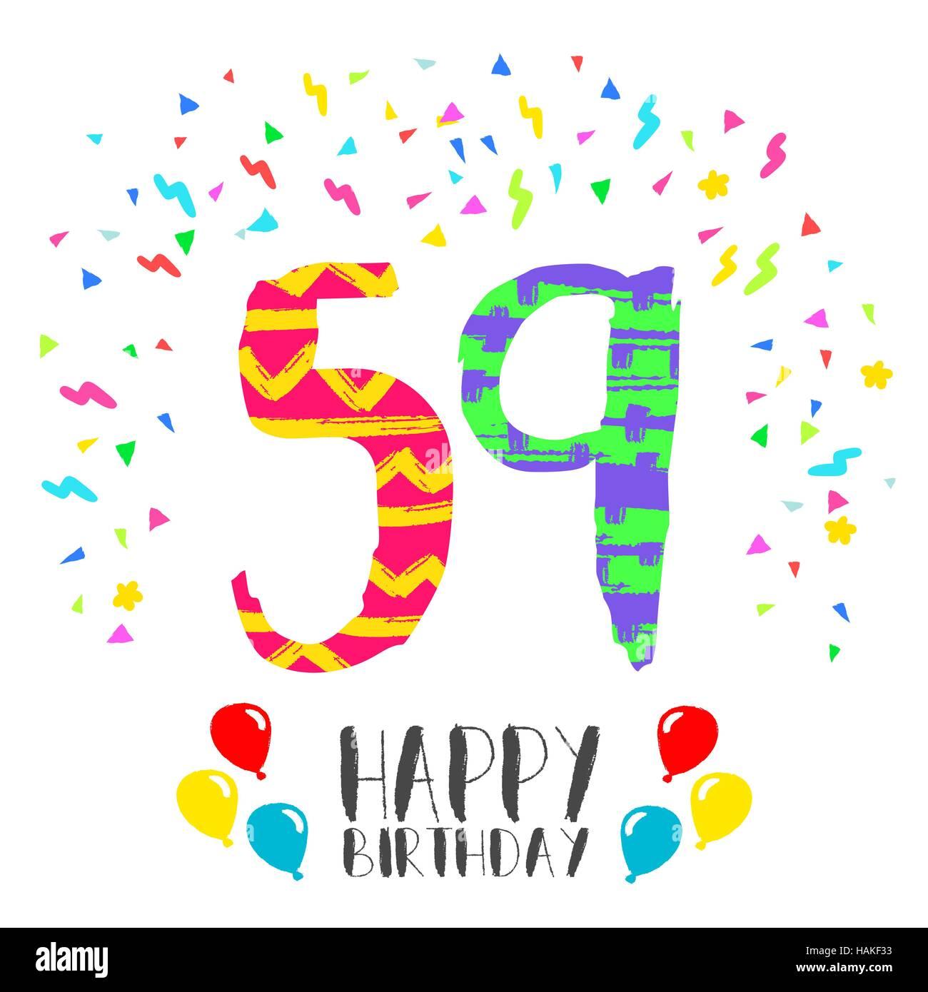 Buon Compleanno Numero 59 Biglietto Di Auguri Per Cinquantanove