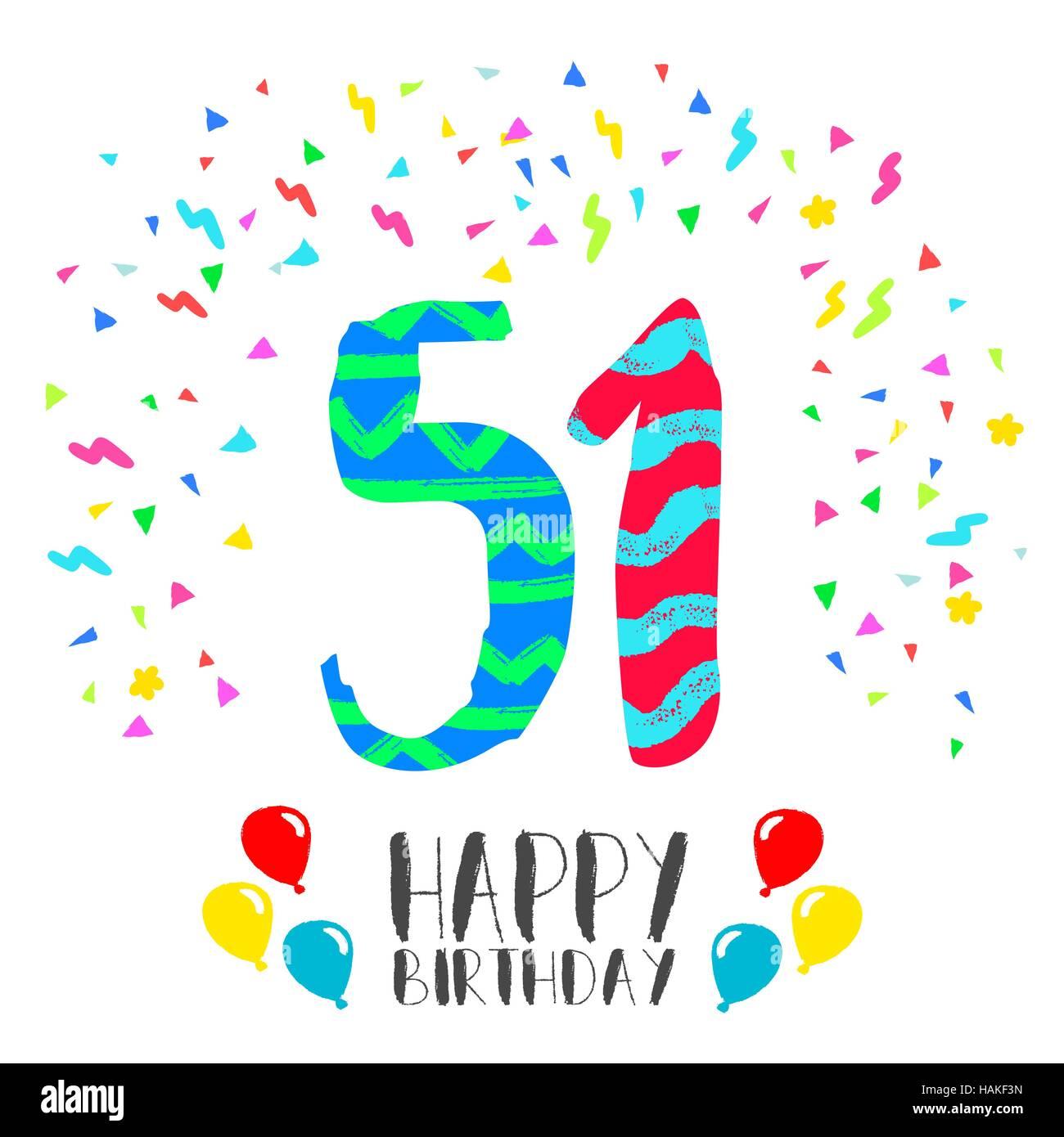 Buon Compleanno Numero 51 Biglietto Di Auguri Per Cinquanta Un