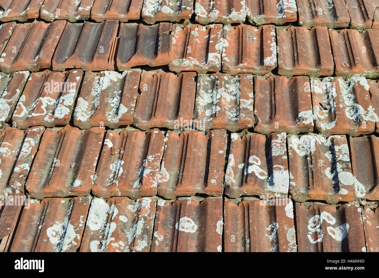 Primo piano della piastrelle mattoni vecchi sul tetto di una casa