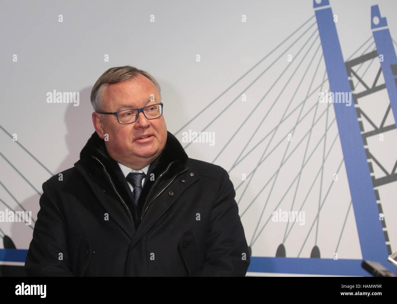 San Pietroburgo, Russia. 29 Nov, 2016. Presidente e Presidente della VTB Bank Management Board Andrey Kostin parla Immagini Stock