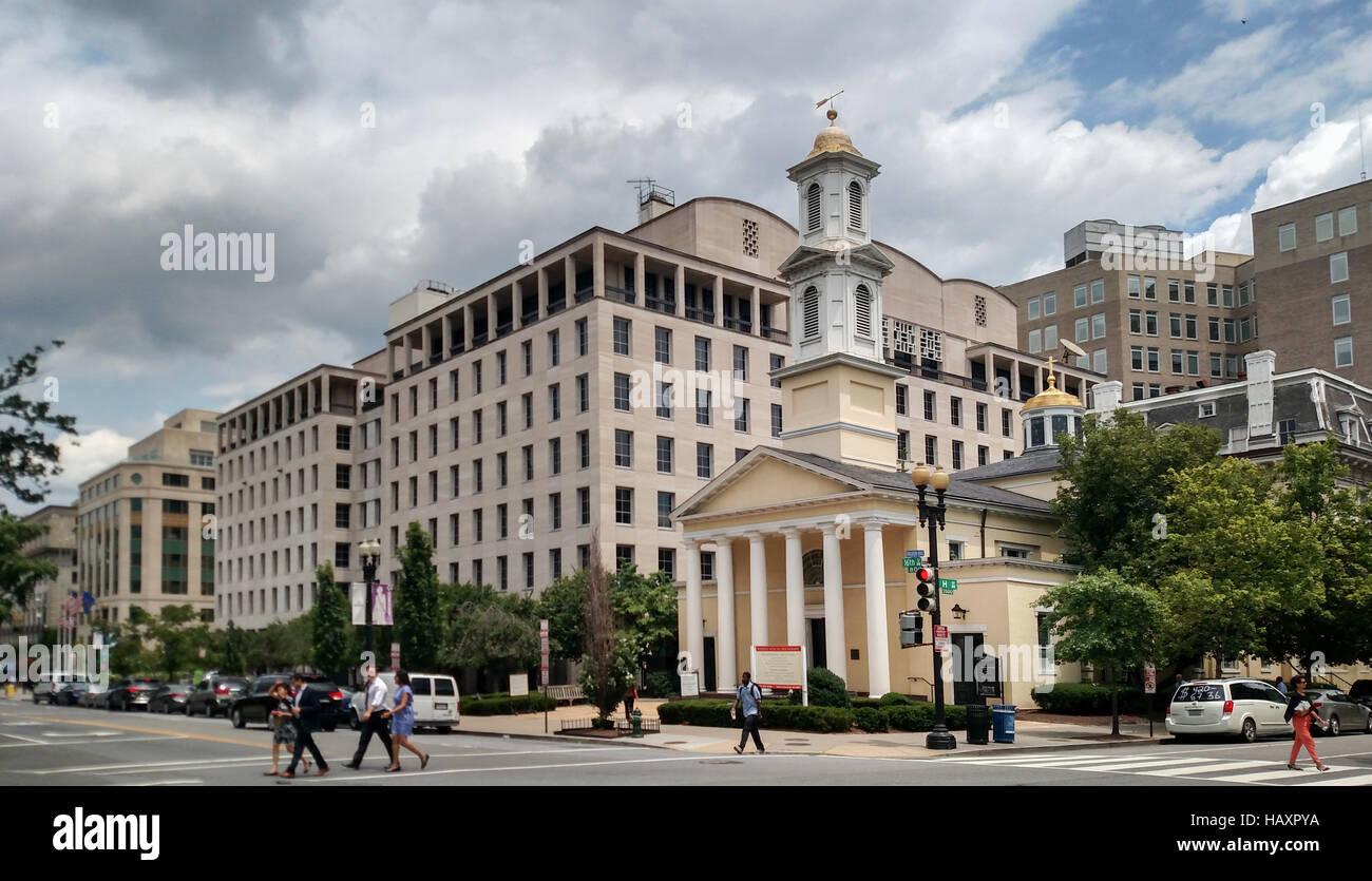 San Giovanni Chiesa Episcopale, su Lafayette Square a Washington DC, conosciuta come la Chiesa dei presidenti. Foto Stock