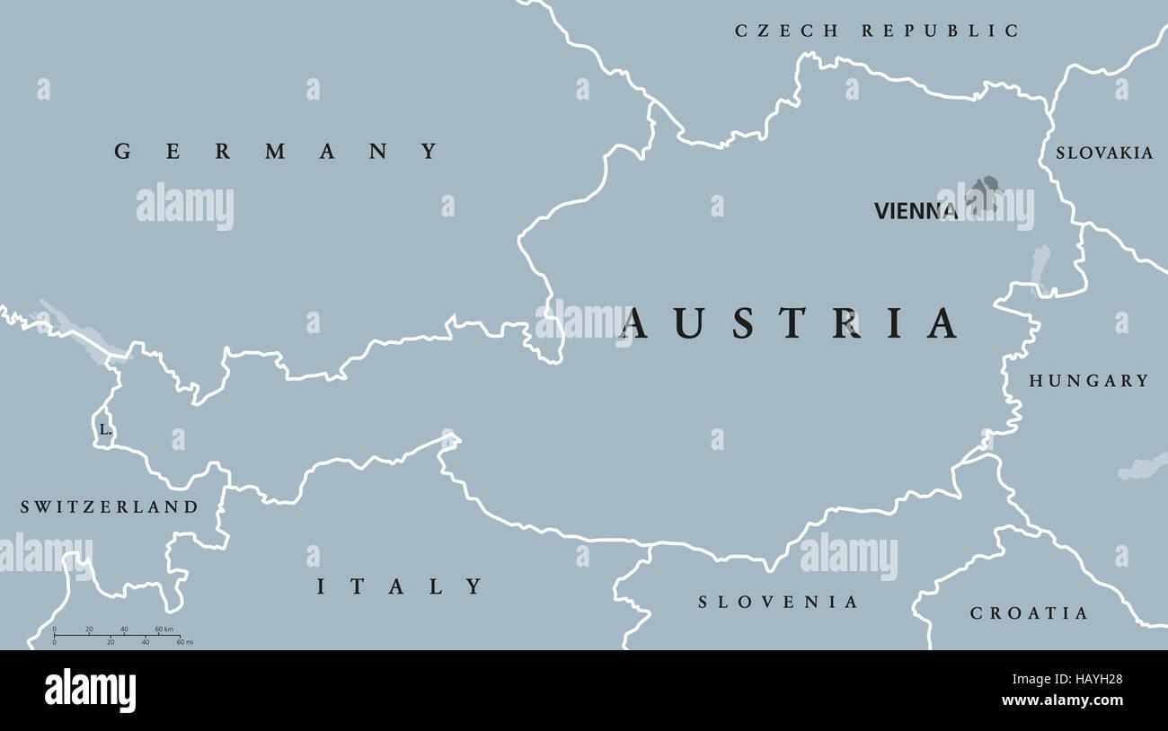 Cartina Del Austria.Austria Mappa Politico Con Capitale Vienna I Confini Nazionali E I Paesi Vicini Repubblica Federale Nel Cuore Dell Europa Foto Stock Alamy