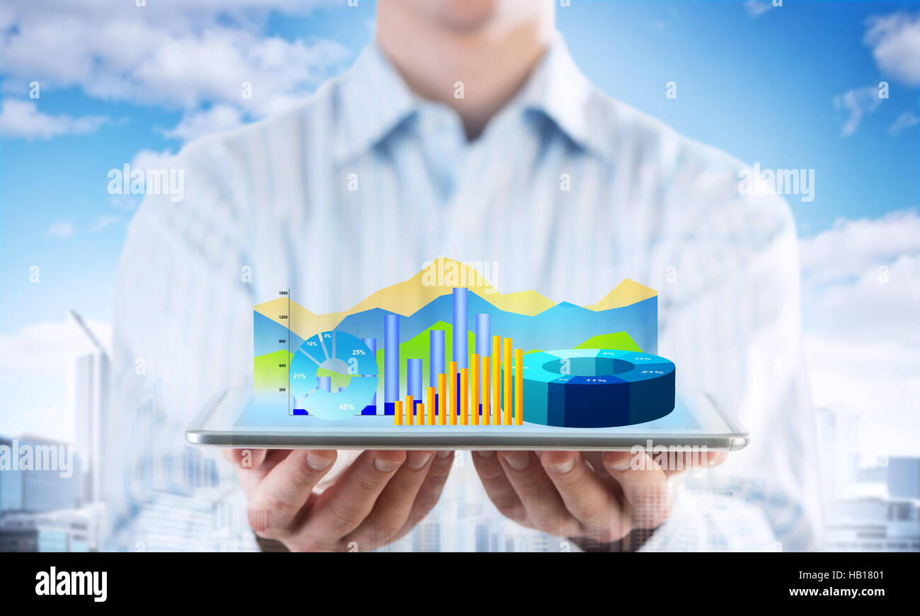 Presentazione di media report di vendita Immagini Stock