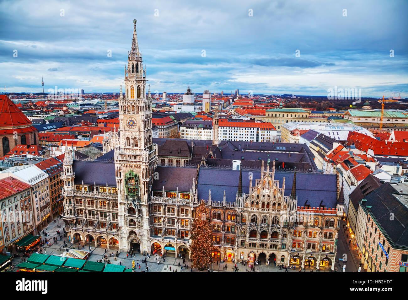 Vista aerea del Marienplatz a Monaco di Baviera Immagini Stock