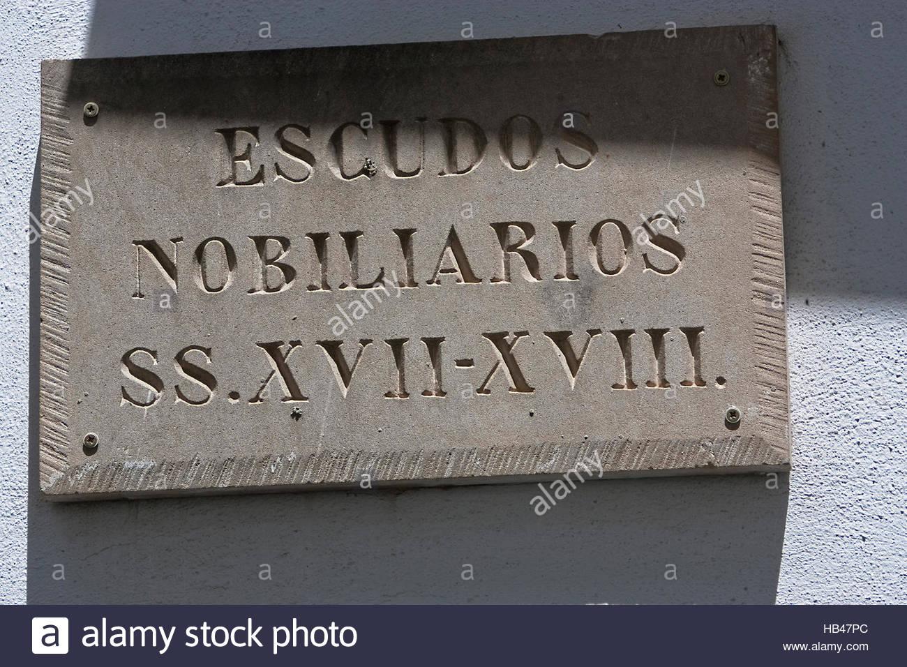 Cartello di cappotti, Sabiote, Jaen, Spagna Immagini Stock