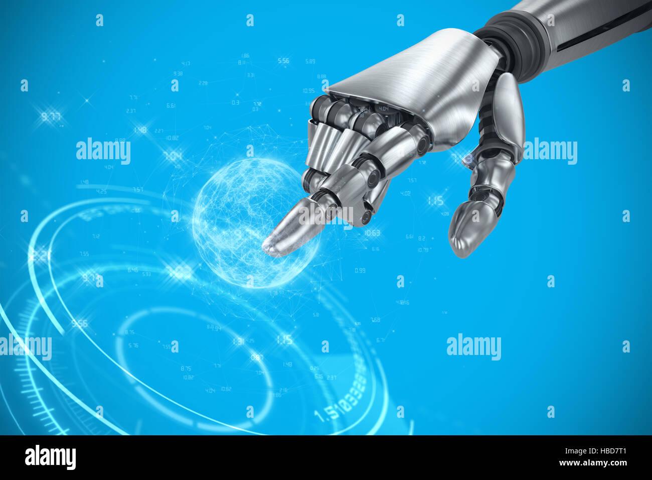 Immagine composita di argento robot a braccio rivolto a qualcosa di Immagini Stock