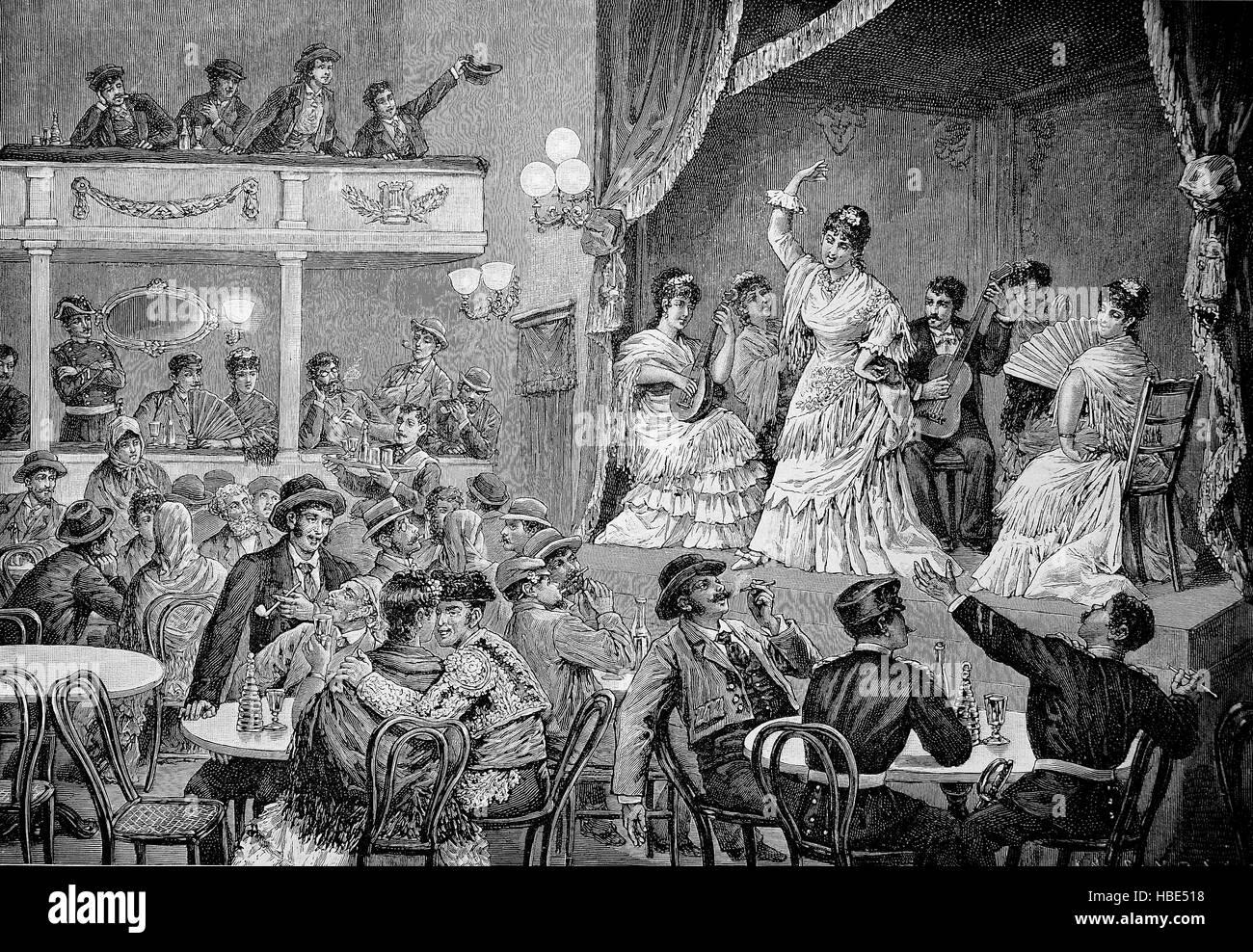 La gente di teatro in Spagna nel 19. secolo, illustrazione, xilografia dal 1880 Immagini Stock