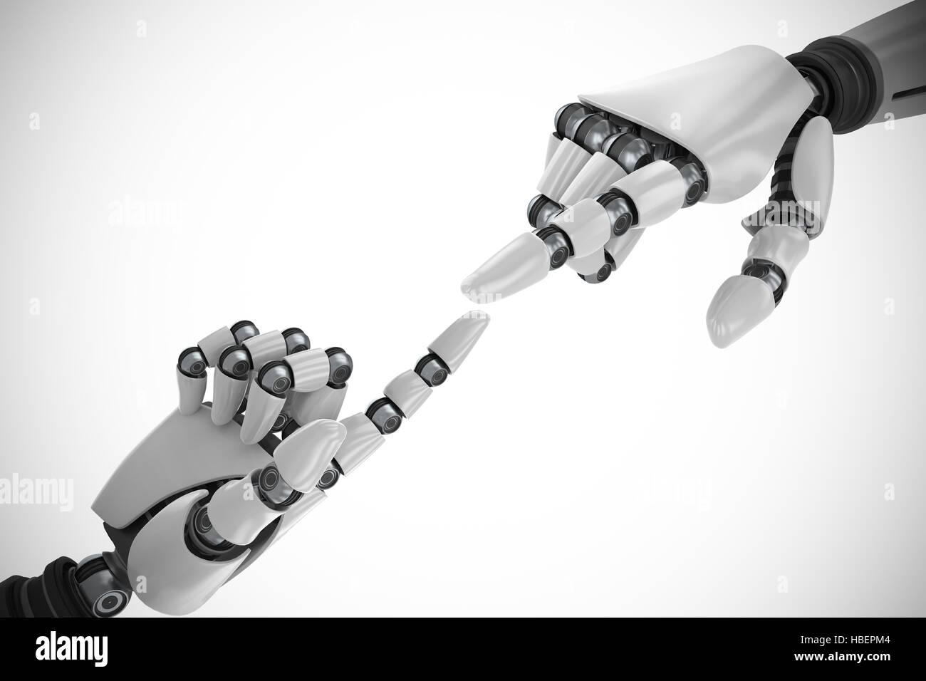 Immagine composita del robot bianco braccio rivolto a qualcosa di Immagini Stock