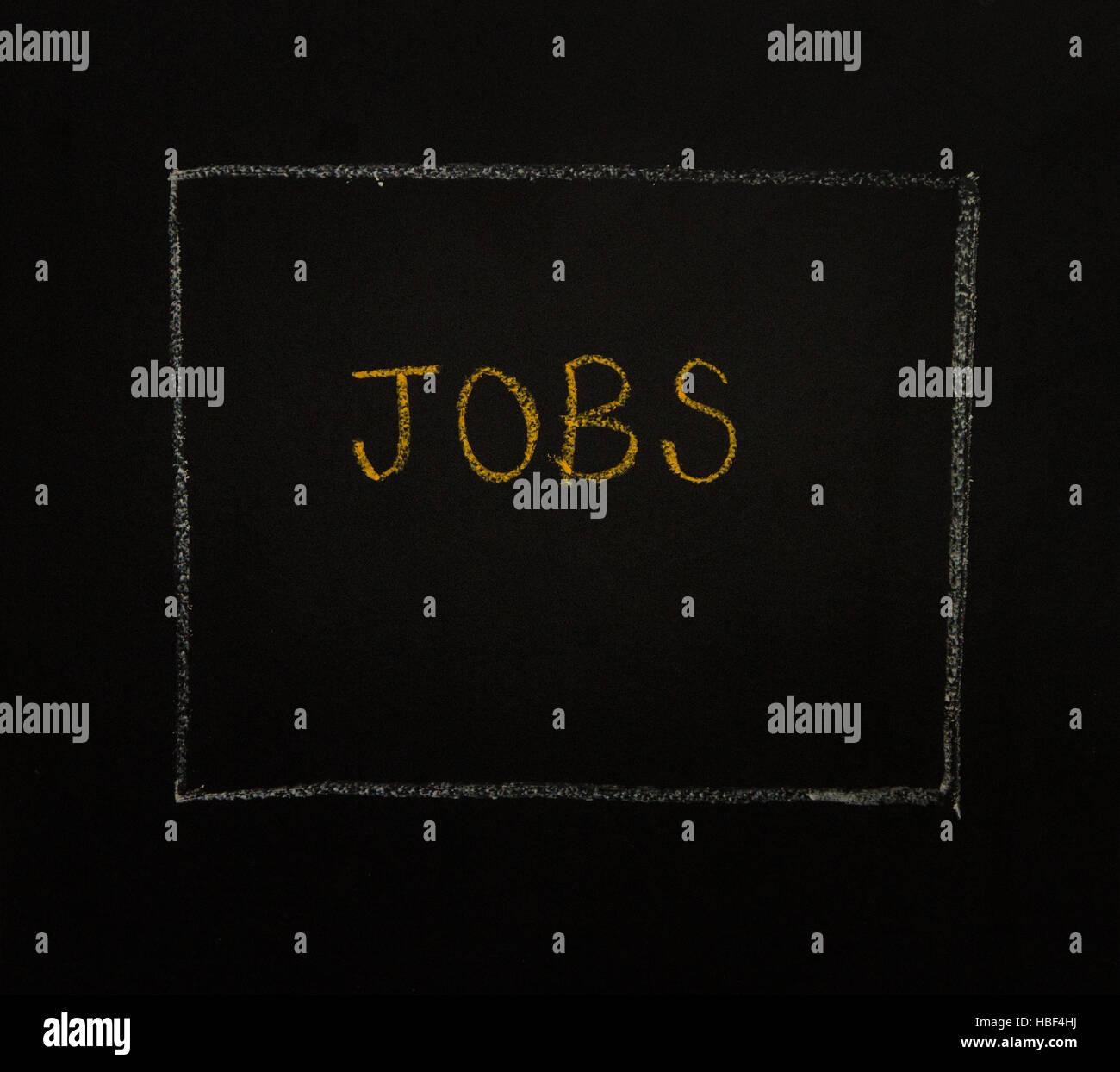 Parola di lavori su sfondo nero. Foto Stock