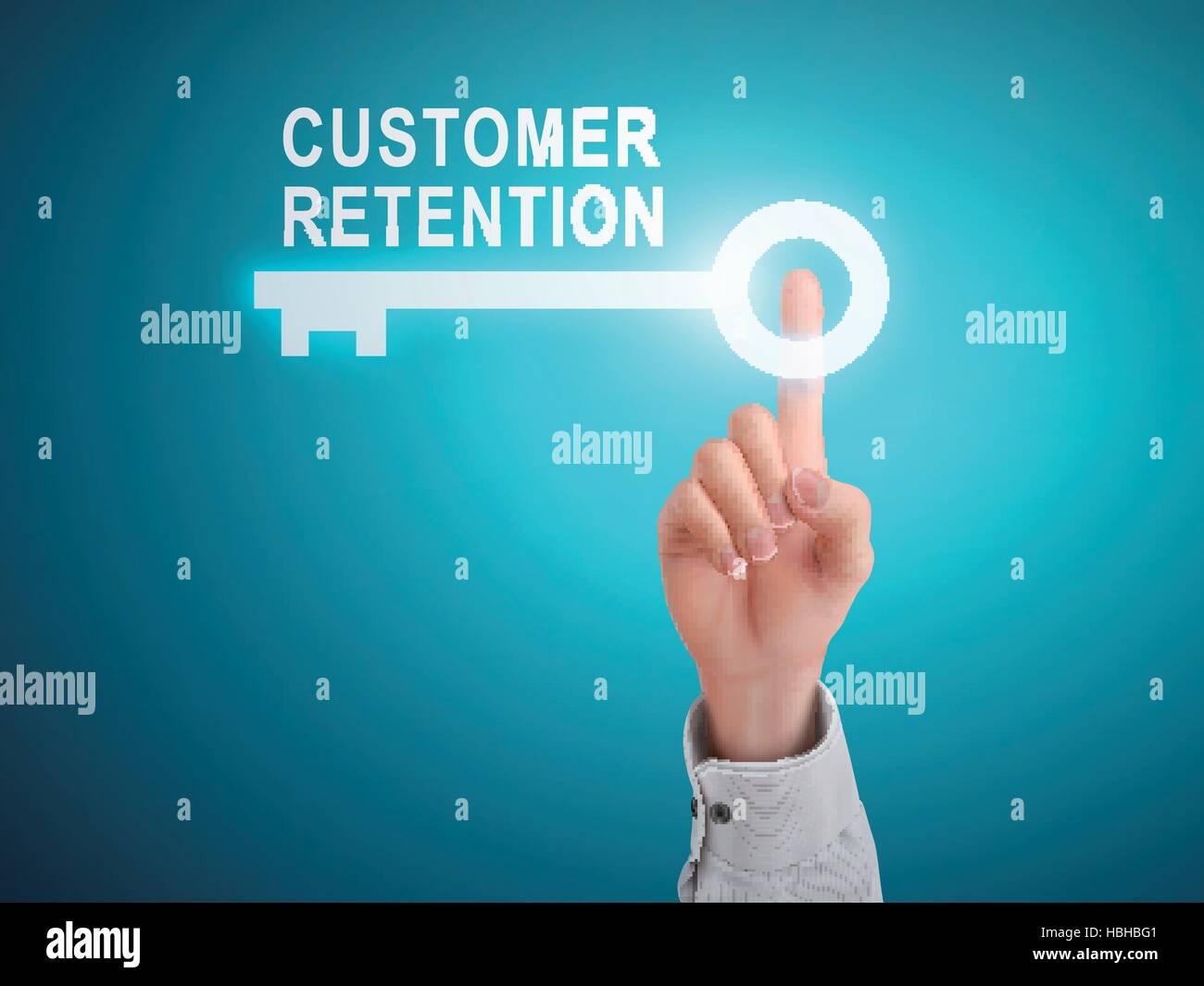 Maschio di pressatura a mano della fidelizzazione dei clienti tasto blu su sfondo astratto Illustrazione Vettoriale
