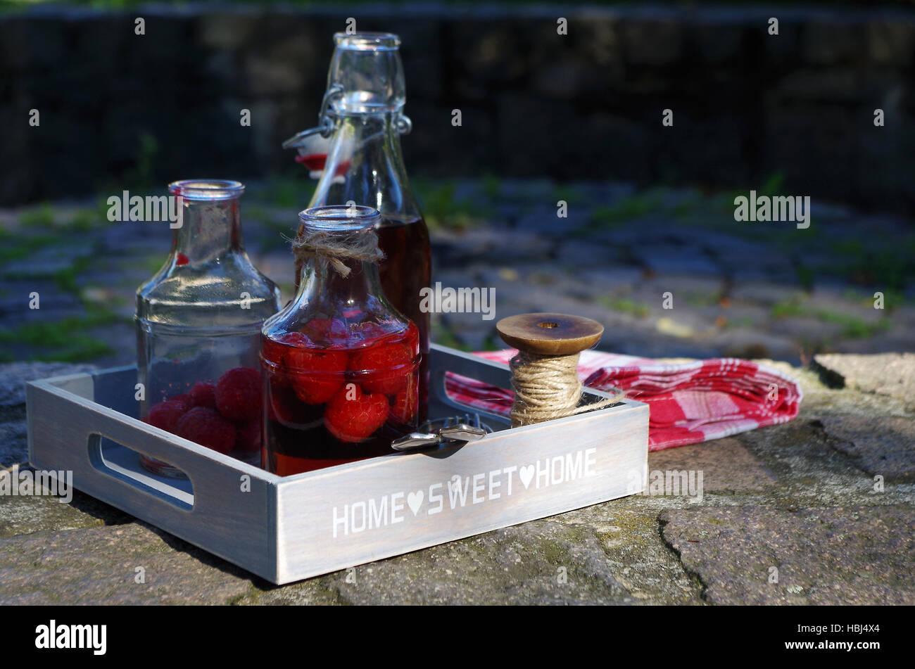 Lampone aceto balsamico Foto Stock