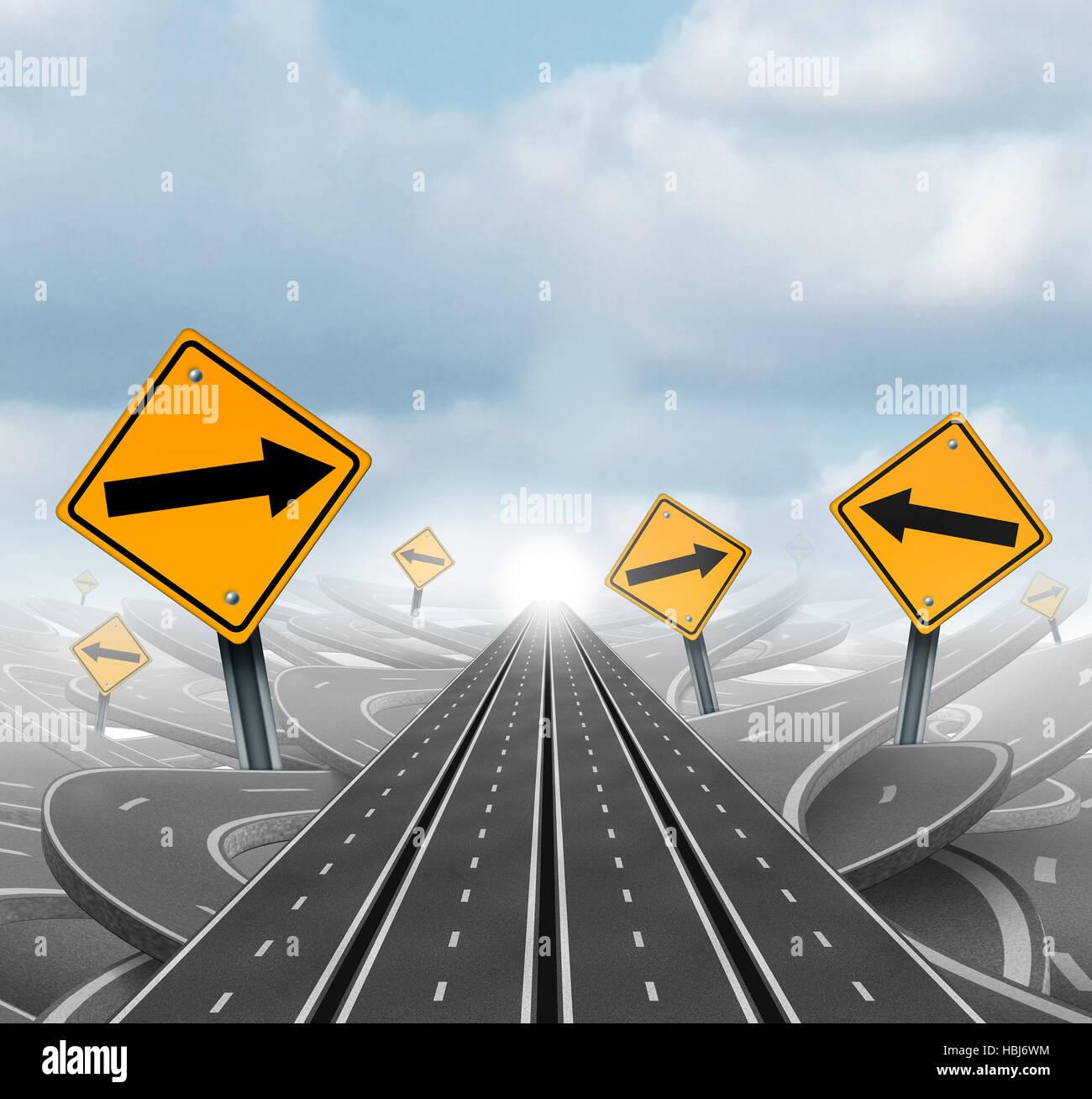 Molte strade per il successo e la chiara strategia di gruppo e soluzioni per la leadership aziendale con il rettilineo Immagini Stock