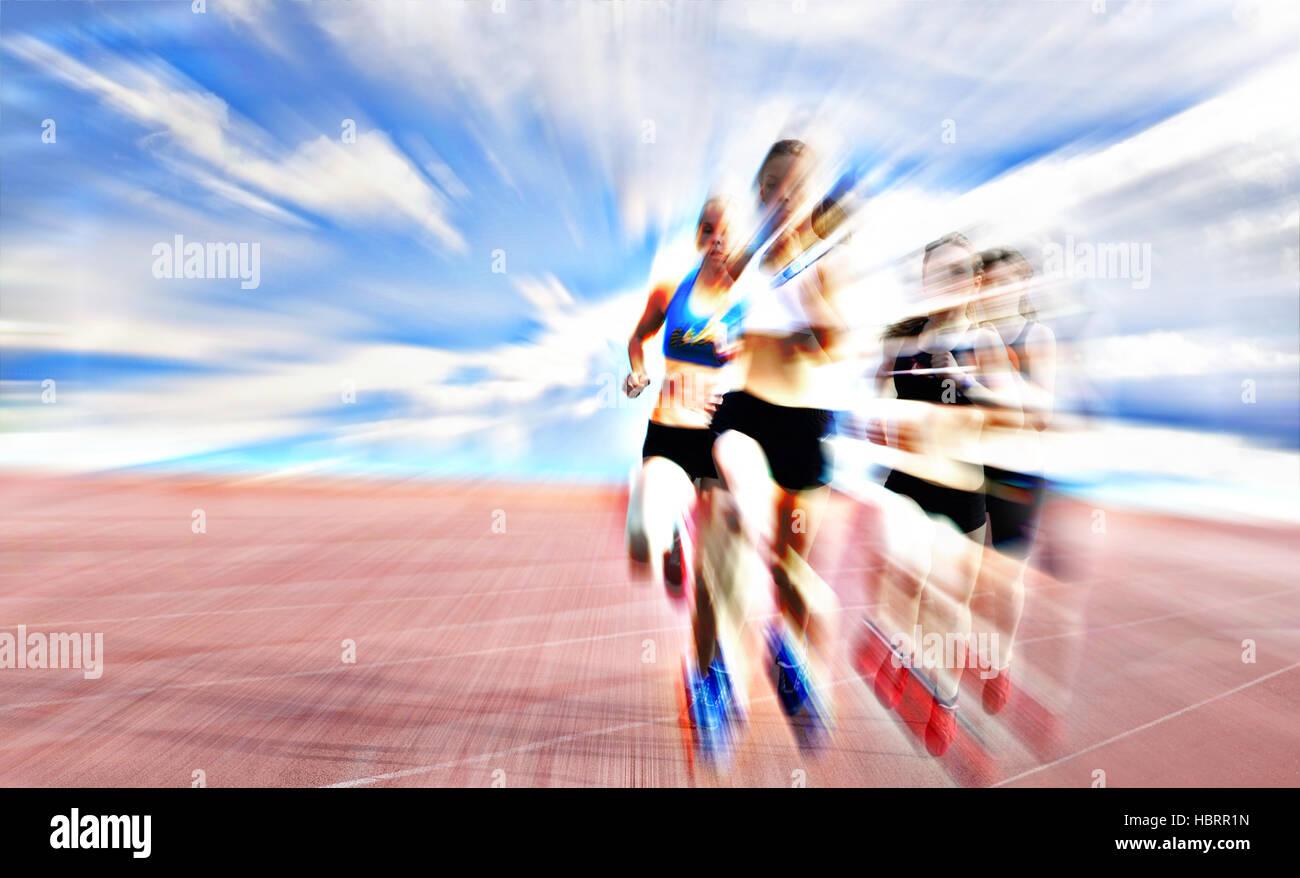 I giovani atleti competere in gara Immagini Stock