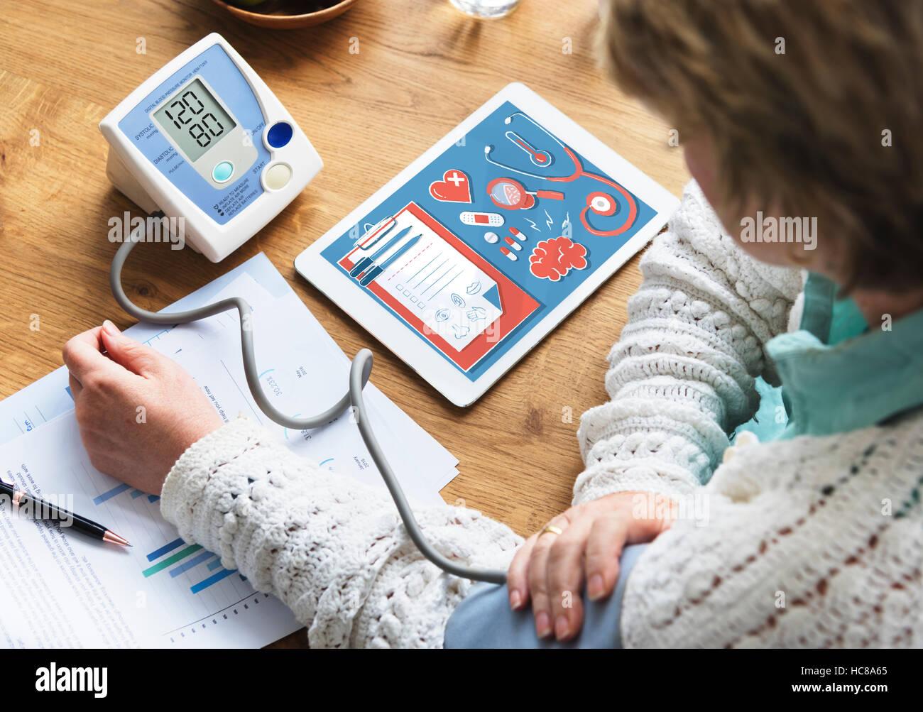 Salute Medicina assicurativa Checkup concetto grafico Immagini Stock