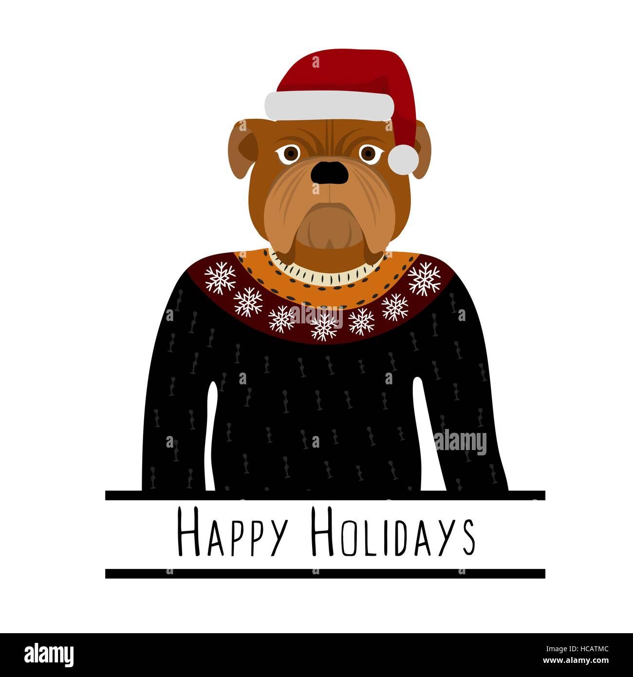 Saluto con sfondo Bulldog inglese. Un cane con un cappello di Babbo Natale.  Design piatto. Il Pet. Doggie carino. Cartoni animati 59c962773490