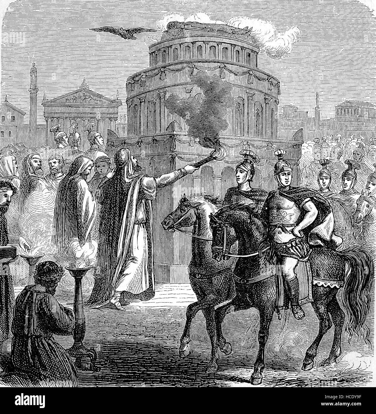 Apoteosi di Adriano, fatta da Antonino Pio, la storia di Roma antica, l'impero romano, Italia Immagini Stock