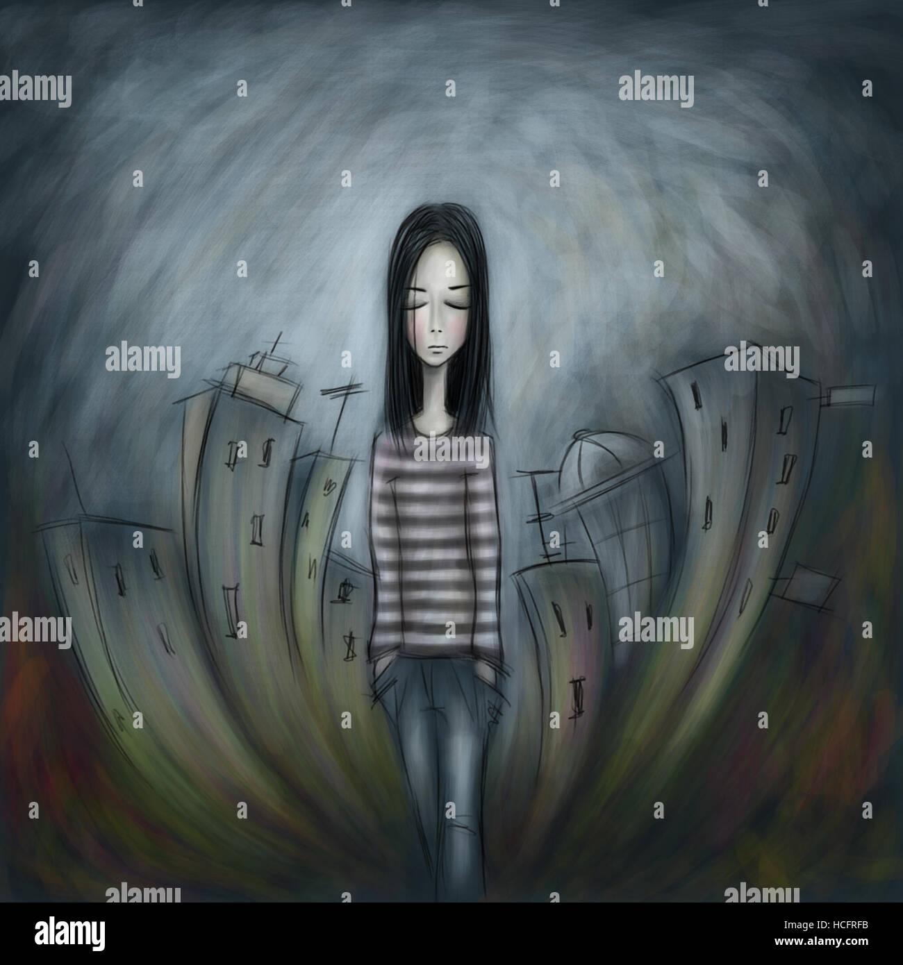 Foto di una ragazza solitaria a piedi lungo una strada di città Immagini Stock