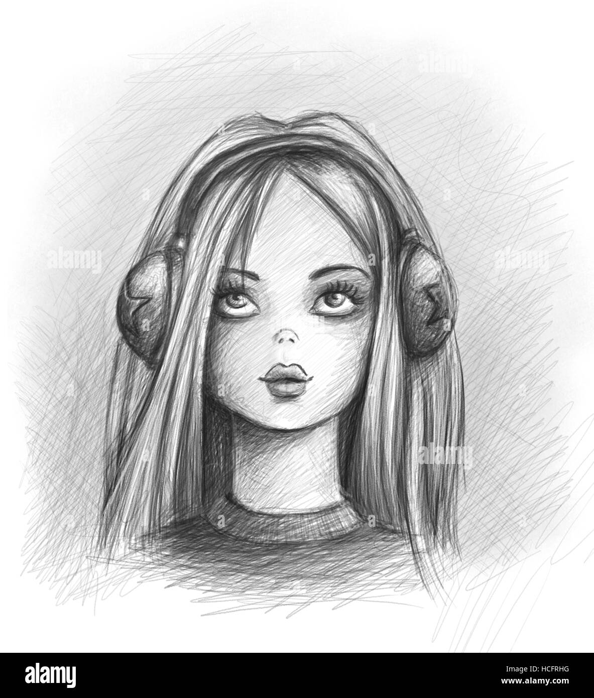 Matita ritratto di una ragazza con le cuffie foto - Colorazione immagine di una ragazza ...