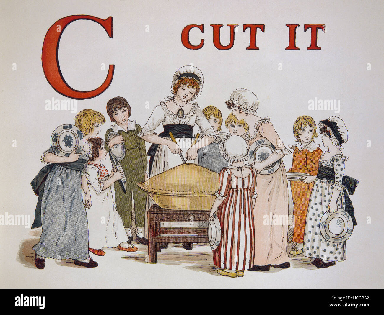 Kate Greenaway - bambini alfabeto C CUT IT - 1886 Immagini Stock