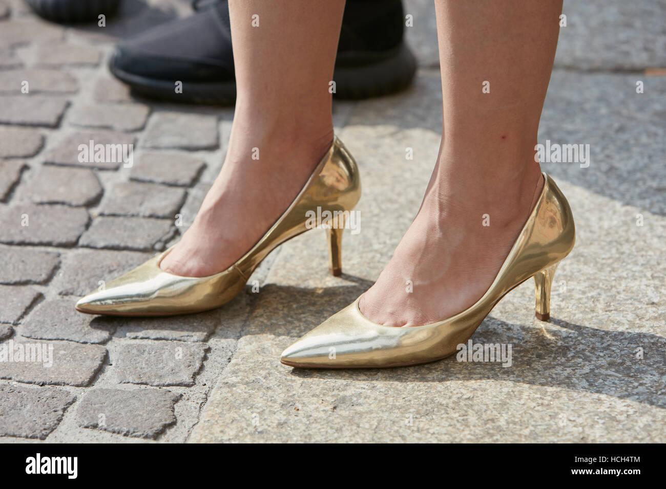 Prima Tacco Scarpe Con Donna Show Oro Lucido Giamba Di Alto Fashion ptY7qR
