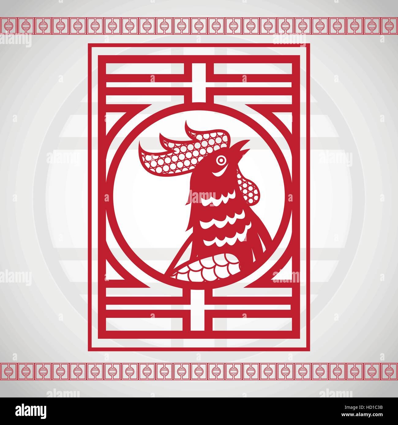 Calendario Zodiacale.Gallo Rosso Cinese Calendario Zodiacale Illustrazione