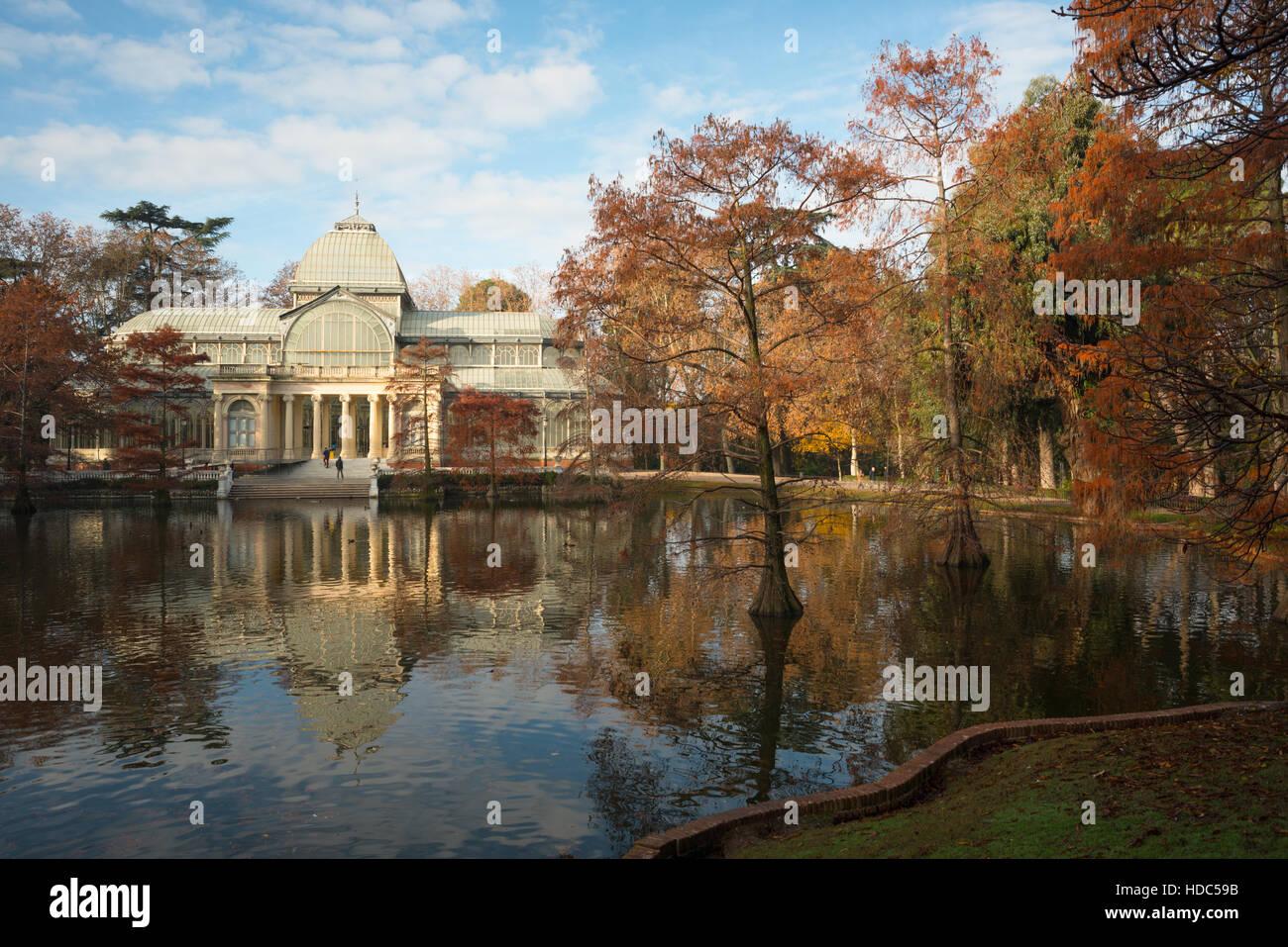 Il palazzo di cristallo del Buen Retiro Park, Madrid Spagna Immagini Stock