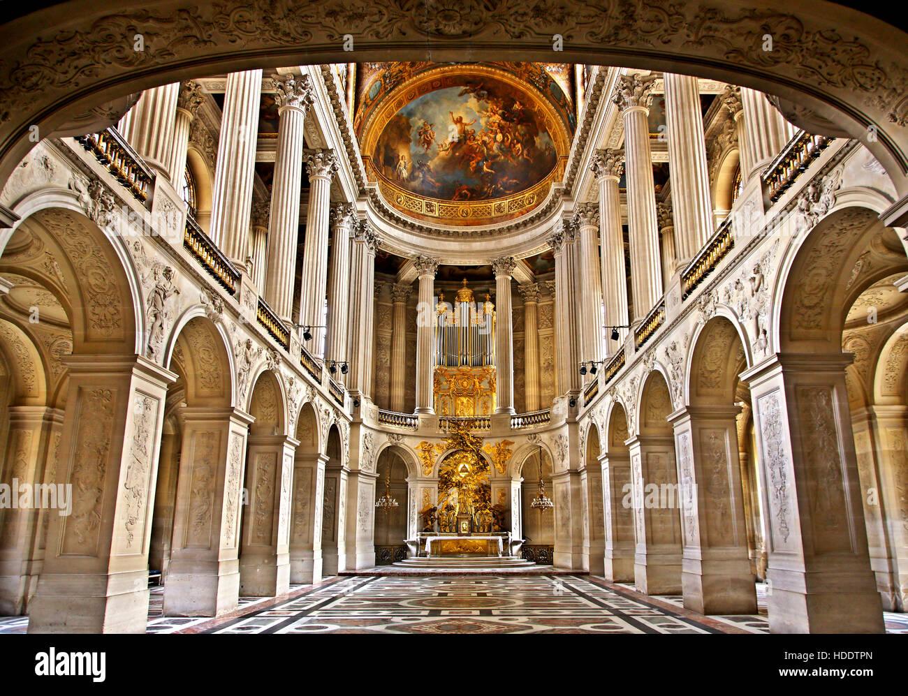 Galleria nel palazzo di Versailles, Francia. Foto Stock