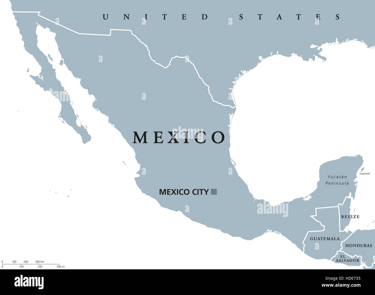 Cartina Geografica Politica Del Messico.Messico Mappa Politico Con Capitale Citta Del Messico E I Confini Nazionali Stati Uniti Del Messico Una Repubblica Federale In Nord America Foto Stock Alamy