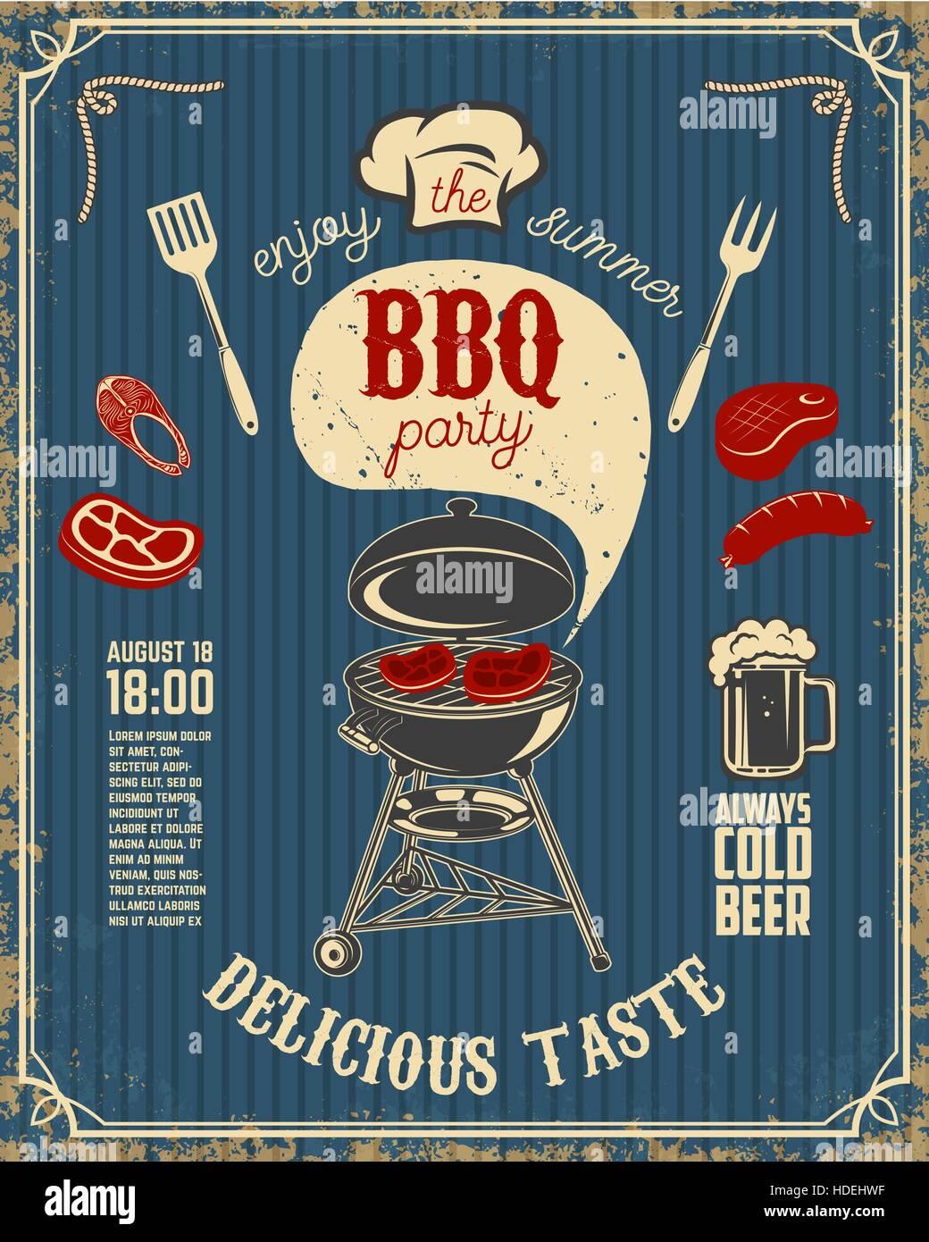 Il barbecue party vintage flyer su grunge background. Grill con ...