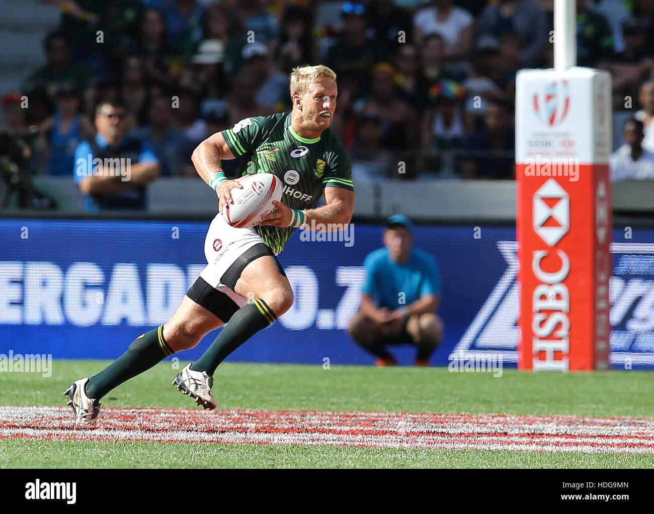La SA Rugby Sevens Springbok i giocatori in azione durante il 2016 HSBC sette torneo al Cape Town Stadium nel punto Immagini Stock