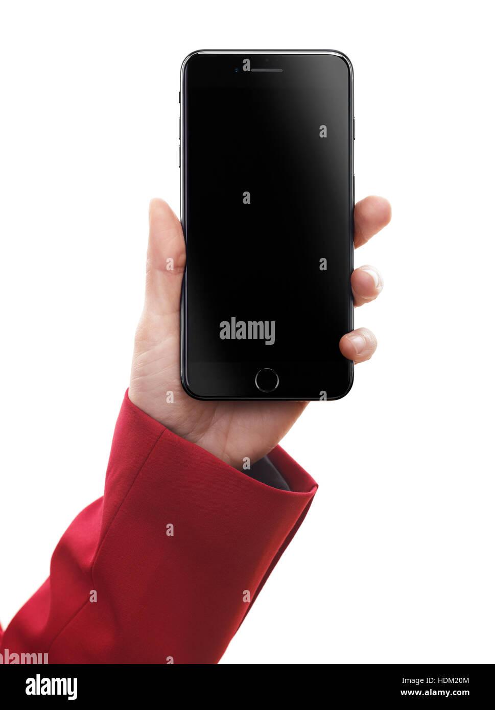 Donna Mano Azienda Apple Iphone 7 Plus Con Schermata Nera Vuota