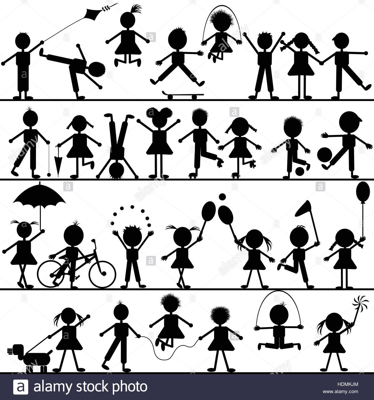 Stilizzata Disegnata A Mano I Bambini Giocando Illustrazione