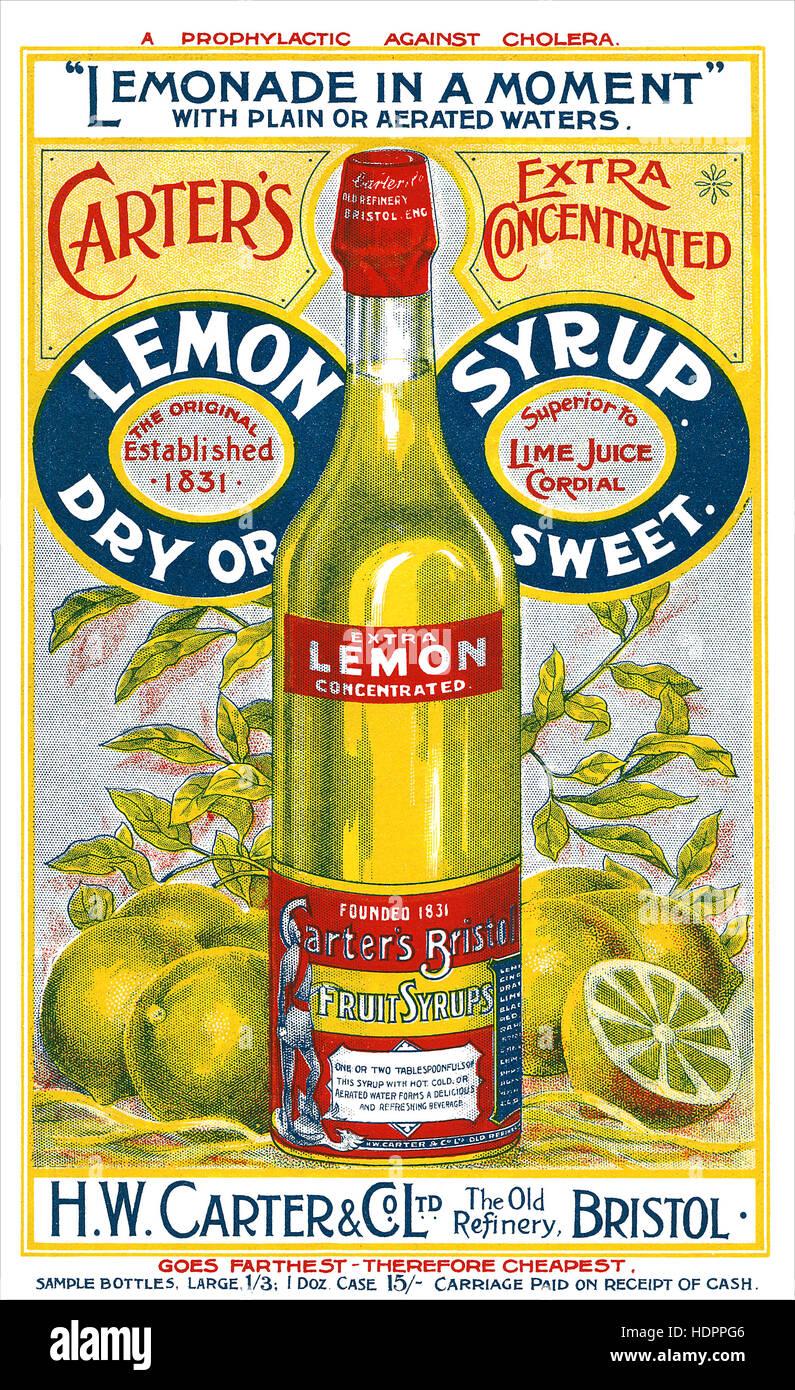 Foglio illustrativo vittoriano per carter di sciroppo di limone Immagini Stock