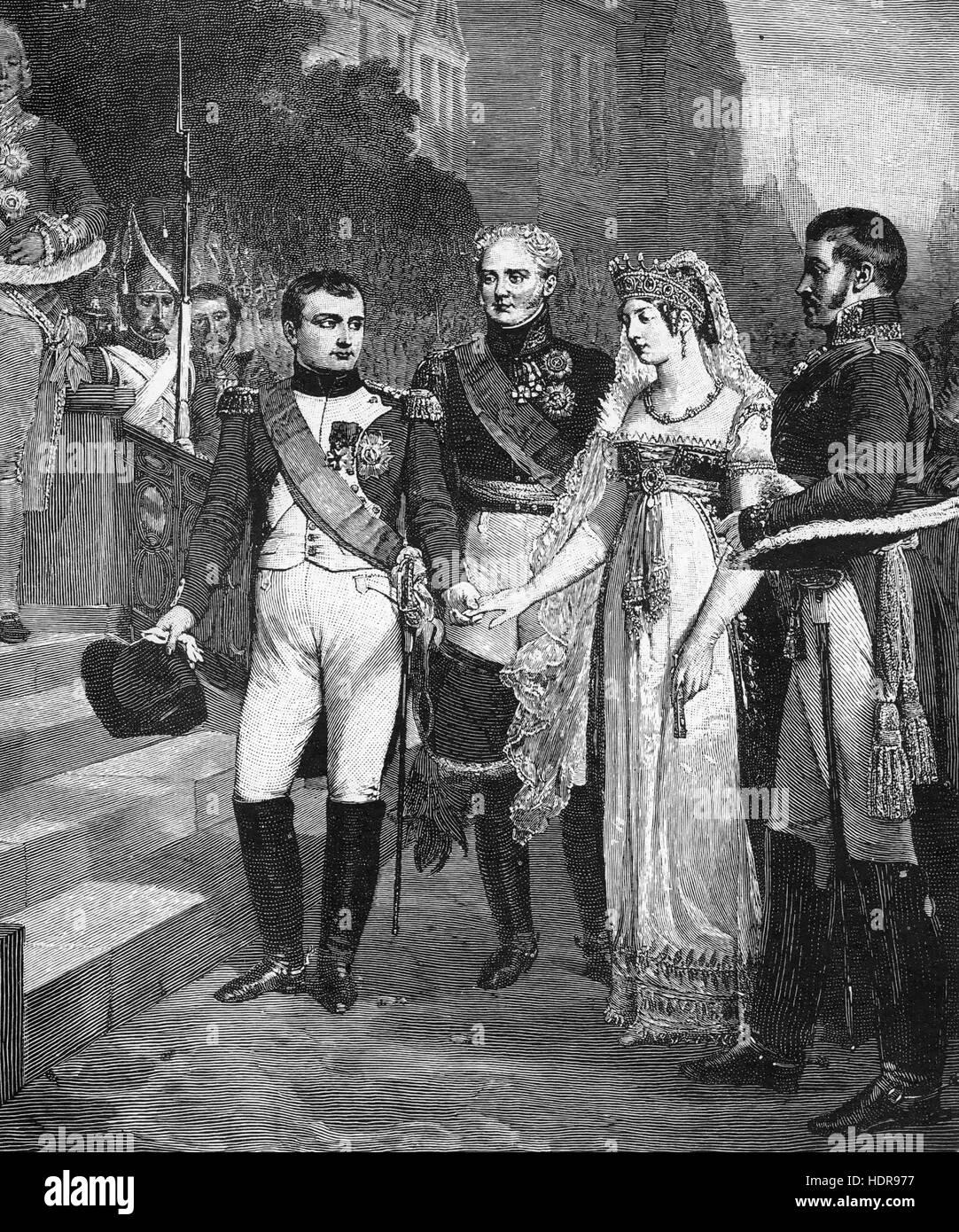Trattato di Tilsit 9 luglio 1807. Napoleone riceve la regina di Prussia con Zar Alessandro di Russia tra loro. Immagini Stock