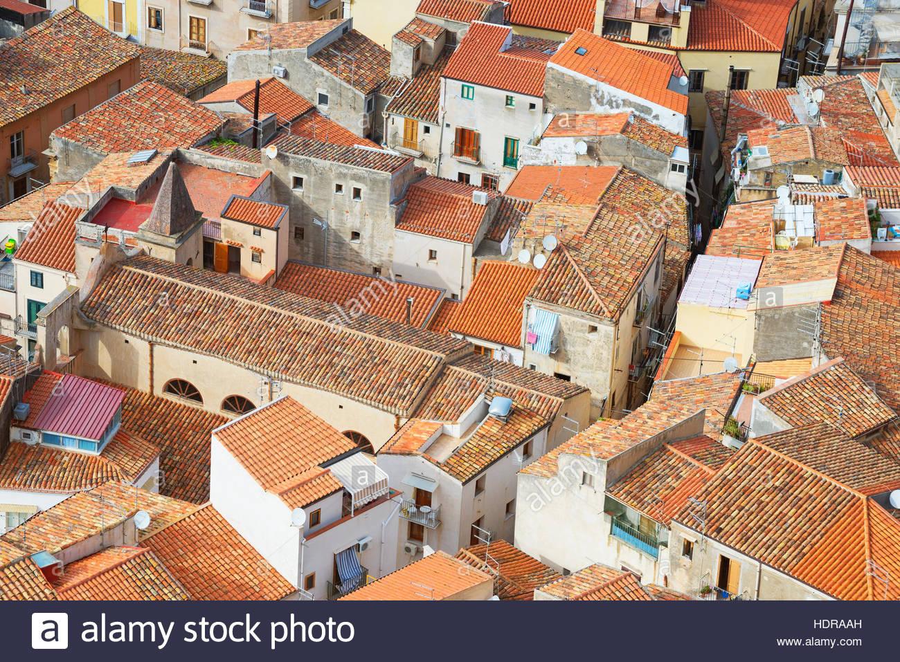 Vista aerea di Cefalu da La Rocca, Cefalu, Sicilia, Italia, Europa Immagini Stock