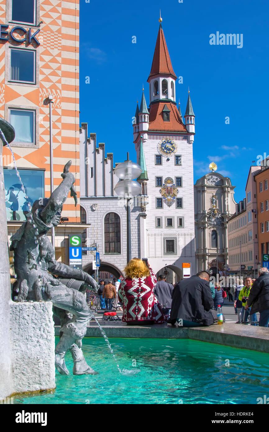 Il vecchio municipio di Marienplatz, Monaco di Baviera Immagini Stock
